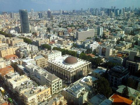 מימין: בית הכנסת הגדול שגובל ברחוב אלנבי, משמאל: רחוב נחלת בנימין